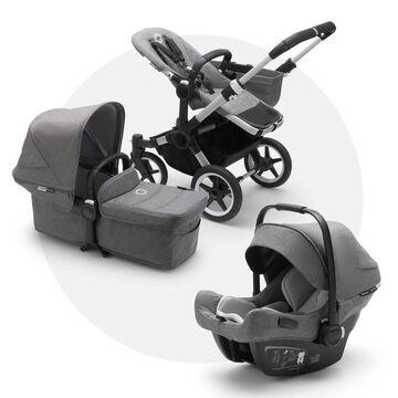 Bugaboo Donkey 3 Mono travel system grey melange sun canopy, grey melange fabrics, aluminium base
