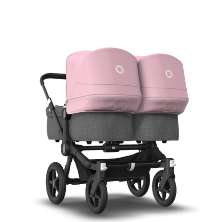 Bugaboo Donkey 3 Twin seat and bassinet stroller soft pink sun canopy, grey melange fabrics, black base