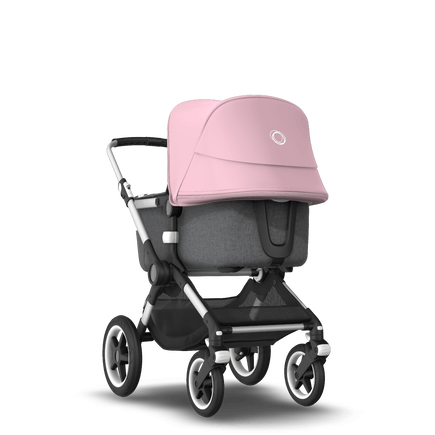 Bugaboo Fox 2 seat and bassinet stroller soft pink sun canopy, grey melange fabrics, aluminium base