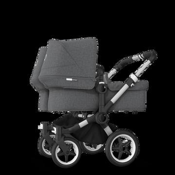 Bugaboo Donkey 3 Twin seat and carrycot pushchair grey melange sun canopy, grey melange fabrics, aluminium base