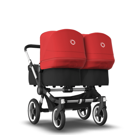 Bugaboo Donkey 3 Twin seat and bassinet stroller red sun canopy, black fabrics, aluminium base