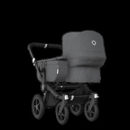 Bugaboo Donkey 3 Mono seat and bassinet stroller grey melange sun canopy, grey melange fabrics, black base