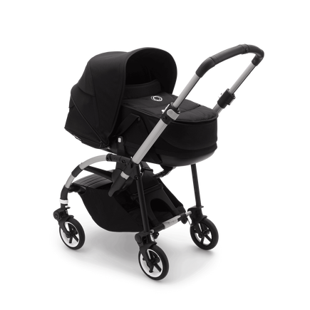 Bugaboo Bee 6 bassinet and seat stroller black sun canopy, black fabrics, aluminium base