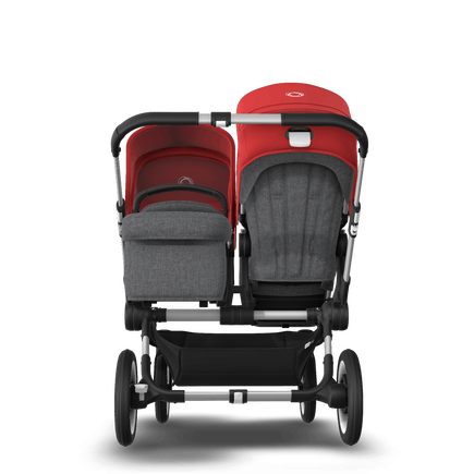 Bugaboo Donkey 3 Duo seat and bassinet stroller red sun canopy, grey melange style set, aluminium base
