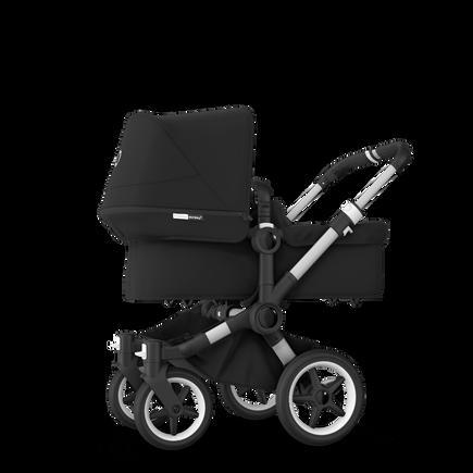 Bugaboo Donkey 3 Mono seat and bassinet stroller black sun canopy, black style set, aluminium base