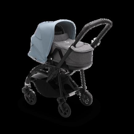 Bugaboo Bee 6 bassinet and seat stroller vapor blue sun canopy, grey mélange fabrics, black base