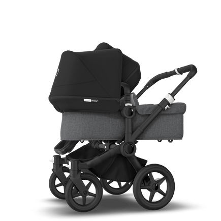 Bugaboo Donkey 3 Duo seat and bassinet stroller black sun canopy, grey melange style set, black base