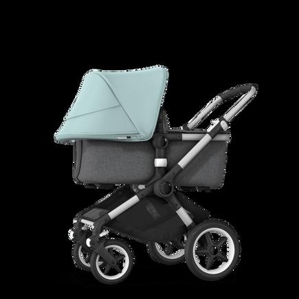 Bugaboo Fox 2 seat and bassinet stroller vapor blue sun canopy, grey melange fabrics, aluminium base