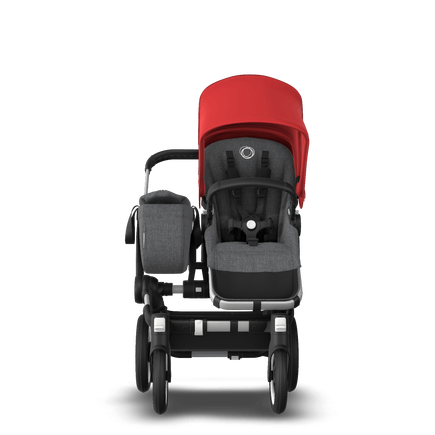 Bugaboo Donkey 3 Mono Complete Red sun canopy, grey melange seat, aluminum chassis