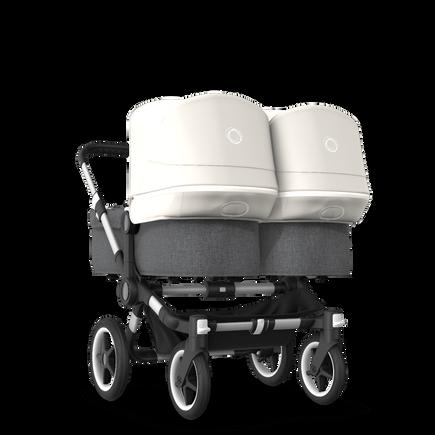 Bugaboo Donkey 3 Twin seat and bassinet stroller fresh white sun canopy, grey melange style set, aluminium base