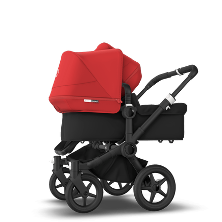 Bugaboo Donkey 3 Duo seat and bassinet stroller red sun canopy, black fabrics, black base