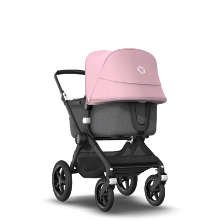 Bugaboo Fox 2 seat and bassinet stroller soft pink sun canopy, grey melange fabrics, black base