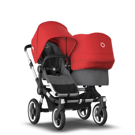 Bugaboo Donkey 3 Duo seat and bassinet stroller red sun canopy, grey melange fabrics, aluminium base