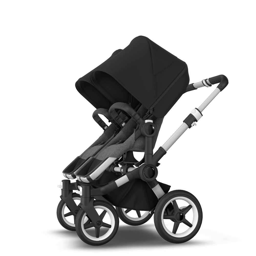 Donkey 3 Twin seat and carrycot pushchair - black sun canopy, grey mélange fabrics, aluminium chassis
