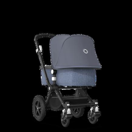 EU - Cameleon 3+ Seat and Bassinet stroller steel blue sun canopy, blue melange fabrics, black base