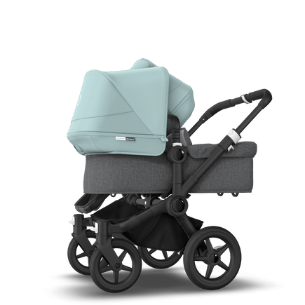 Bugaboo Donkey 3 Duo seat and bassinet stroller vapor blue sun canopy, grey melange fabrics, black base