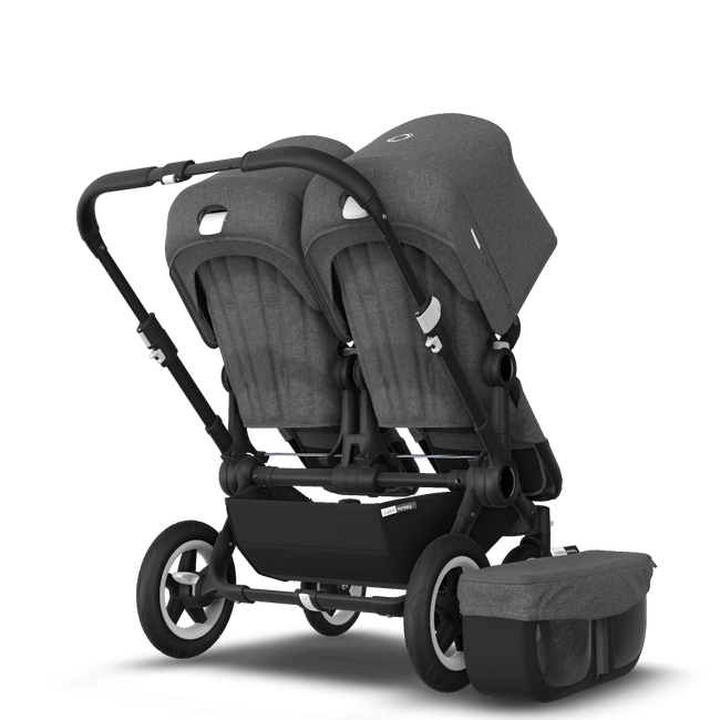 EU Bugaboo Donkey 2 Twin Seat and Bassinet Classic Grey Melange, Black Chassis