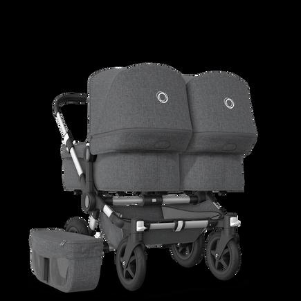 EU Bugaboo Donkey 2 Twin Seat and Bassinet Classic Grey Melange, Aluminium Chassis