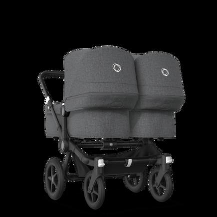 Bugaboo Donkey 3 Twin seat and bassinet stroller grey melange sun canopy, grey melange fabrics, black base