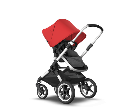 US - Bugaboo Fox2 stroller bundle aluminum grey melange red