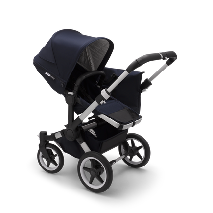 Bugaboo Donkey 3 Mono seat and bassinet stroller classic collection dark navy sun canopy, classic collection dark navy fabrics, aluminium base