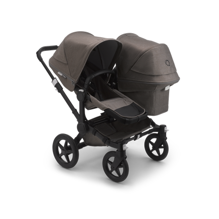 Bugaboo Donkey 3 Duo seat and bassinet stroller mineral taupe melange sun canopy, mineral taupe melange fabrics, black base