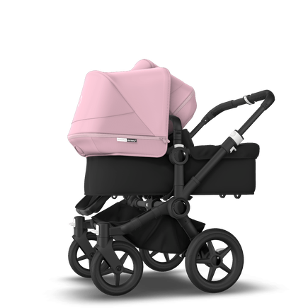 Bugaboo Donkey 3 Duo seat and bassinet stroller soft pink sun canopy, black fabrics, black base