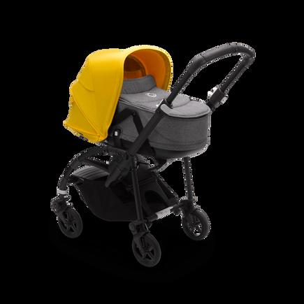Bugaboo Bee 6 bassinet and seat stroller lemon yellow sun canopy, grey mélange fabrics, black base