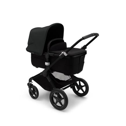 Bugaboo Fox 3 bassinet and seat stroller black base, midnight black fabrics, midnight black sun canopy
