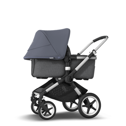 Bugaboo Fox 2 seat and bassinet stroller steel blue sun canopy, grey melange fabrics, aluminium base