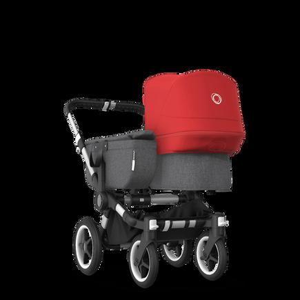 Bugaboo Donkey 3 Mono seat and bassinet stroller red sun canopy, grey melange fabrics, aluminium base
