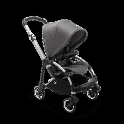Bugaboo Bee 6 seat and bassinet stroller grey melange sun canopy, grey melange fabrics, aluminium base