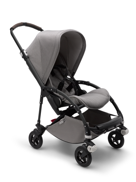 Bugaboo Bee 5 seat stroller mineral light grey melange sun canopy, mineral light grey melange fabrics, black base