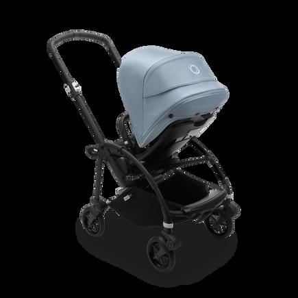 Bugaboo Bee 6 seat stroller vapor blue sun canopy, black fabrics, black chassis