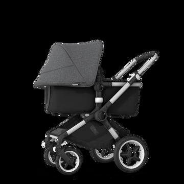 Bugaboo Fox 2 seat and bassinet stroller grey melange (nr) sun canopy, black fabrics, aluminium base