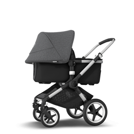 Bugaboo Fox 2 seat and bassinet stroller grey melange (nr) sun canopy, black fabrics, aluminium base
