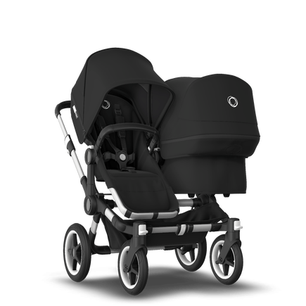 Bugaboo Donkey 3 Duo seat and bassinet stroller black sun canopy, black fabrics, aluminium base