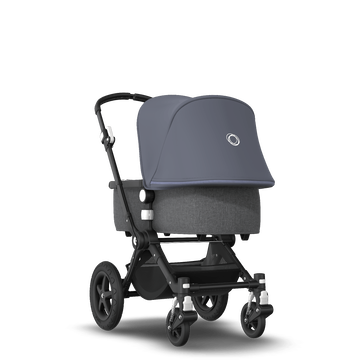EU - Cameleon 3+ Seat and Bassinet stroller steel blue sun canopy, grey melange fabrics, black base