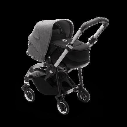 Bugaboo Bee 6 bassinet and seat stroller grey mélange sun canopy, black fabrics, aluminium base