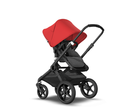 US - Bugaboo Fox2 stroller bundle black grey melange red