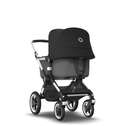 Bugaboo Fox 2 seat and bassinet stroller black sun canopy, grey melange fabrics, aluminium base