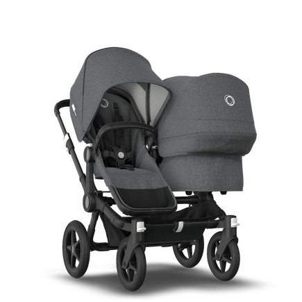 Bugaboo Donkey 3 Duo seat and bassinet stroller grey melange sun canopy, grey melange style set, black base