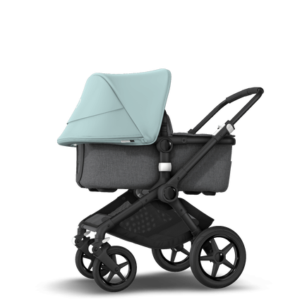 Bugaboo Fox 2 seat and bassinet stroller vapor blue sun canopy, grey melange fabrics, black base
