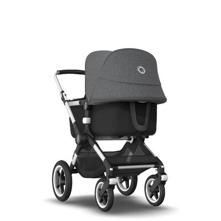 Fox 2 Seat and Bassinet Stroller Grey Melange sun canopy, Black style set, Aluminium chassis