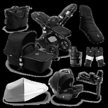 Bugaboo Cameleon 3 Plus Ready to go further bundle black sun canopy, black fabrics, black base