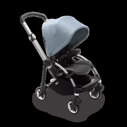 Bugaboo Bee 6 bassinet and seat stroller vapor blue sun canopy, grey mélange fabrics, aluminium base