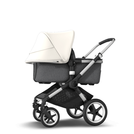 Bugaboo Fox 2 seat and bassinet stroller fresh white sun canopy, grey melange fabrics, aluminium base
