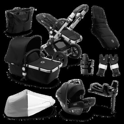 Bugaboo Cameleon 3 Plus Ready to go further bundle black sun canopy, black fabrics, aluminium base