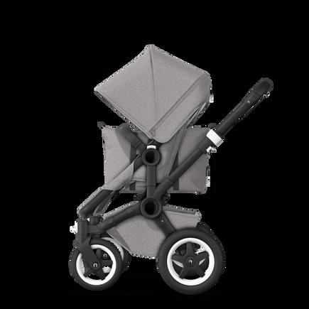 UK Bugaboo Donkey 2 Mono Seat and bassinet pushchair Mineral Light Grey melange, Black Chassis