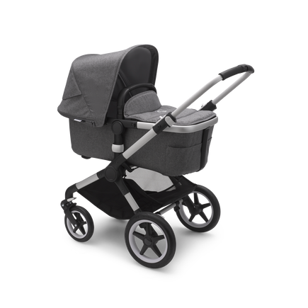 Bugaboo Fox 2 Ready to go further bundle grey mélange sun canopy, grey mélange fabrics, aluminium base